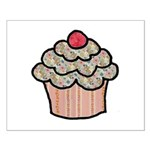 Country Calico Cupcake Small Poster