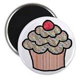 Country Calico Cupcake Magnet