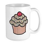 Country Calico Cupcake Large Mug