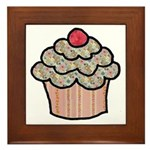 Country Calico Cupcake Framed Tile