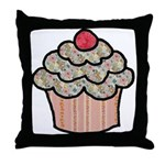 Country Calico Cupcake Throw Pillow