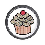 Country Calico Cupcake Wall Clock