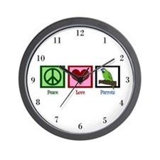 Peace Love Parrots Wall Clock