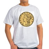 Liberty Head Double Eagle Reverse Ash Grey T-Shirt