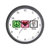 Peace Love Wolves Wall Clock