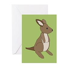 kangaroo (green) Greeting Cards (Pk of 10)