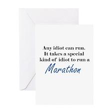 Idiot to run marathon Greeting Card