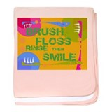 Brush Floss Rinse Smile baby blanket