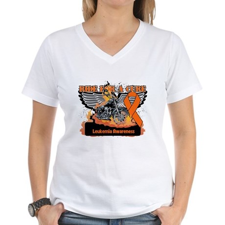 Leukemia Ride For a Cure Women's V-Neck T-Shirt