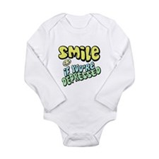 SMILE If you're Depressed Long Sleeve Infant Bodys