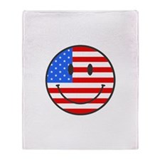 Smiley Face Fourth Of July Throw Blanket
