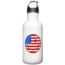 Smiley Face Fourth Of July Water Bottle
