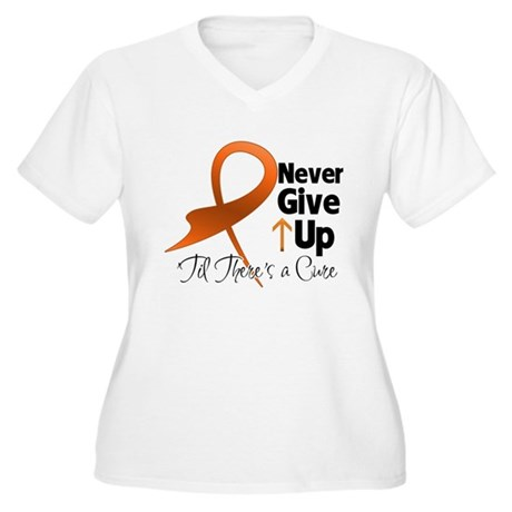 Never Give Up - Leukemia Women's Plus Size V-Neck 