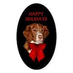 Brittany Spaniel Holiday Chri Sticker (Oval 10 pk)