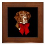 Brittany Spaniel Holiday Christmas Framed Tile