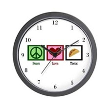Peace Love Tacos Wall Clock