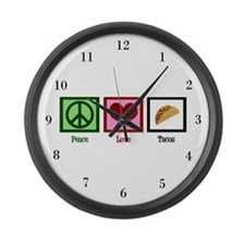 Peace Love Tacos Large Wall Clock