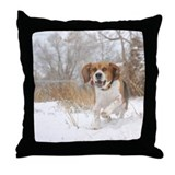Cute Dog in a santa Throw Pillow