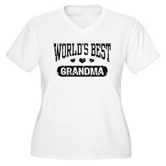 World's Best Grandma Women's Plus Size V-Neck T-Sh