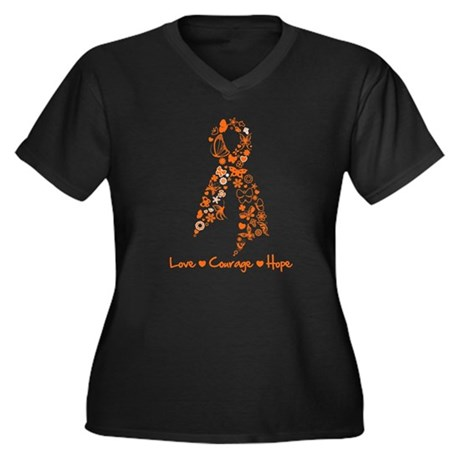 Leukemia Love Hope Women's Plus Size V-Neck Dark T