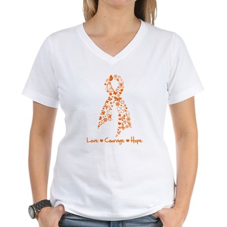 Leukemia Love Hope Women's V-Neck T-Shirt