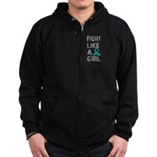 Fight Like A Girl Ovarian Cancer Zip Hoodie