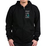 Fight Like A Girl Ovarian Cancer Zip Hoody