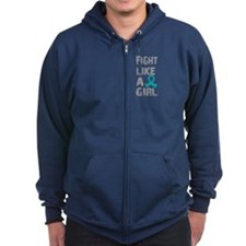 Fight Like A Girl Ovarian Cancer Zipped Hoodie