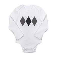 Gray and Red Argyle Long Sleeve Infant Bodysuit