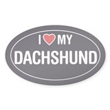 I Love My Dachshund Sticker/Decal (Oval)