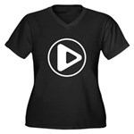 Play Button Women's Plus Size V-Neck Dark T-Shirt