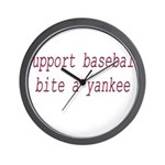 Support Baseball Bite A Yanke Wall Clock