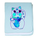 Beckoning Cat in Blue baby blanket