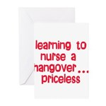 Learning To Nurse A Hangover. Greeting Cards (Pk o