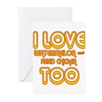 I LOVE WATERMELON AND FRIED C Greeting Cards (Pk o