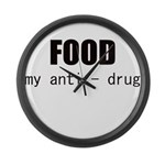 FOOD MY ANTI-DRUG Large Wall Clock