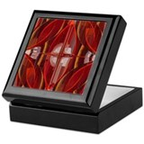 Red Cubism Abstract Keepsake Box