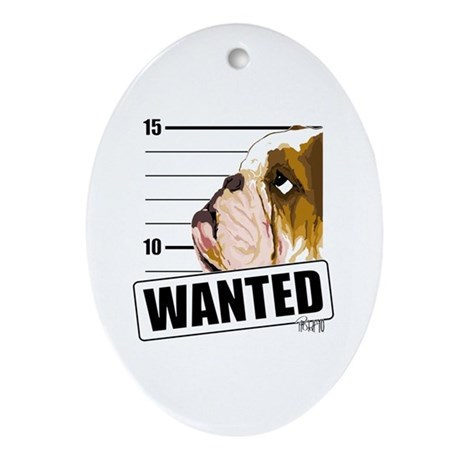 Bulldog Wanted Ornament (Oval)
