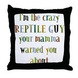 crazy reptile guy Throw Pillow