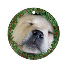 Sleeping Puppy Ornament (Round)