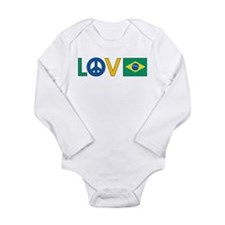 Love Peace Brazil Long Sleeve Infant Bodysuit
