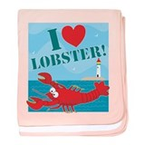 I Love Lobster baby blanket