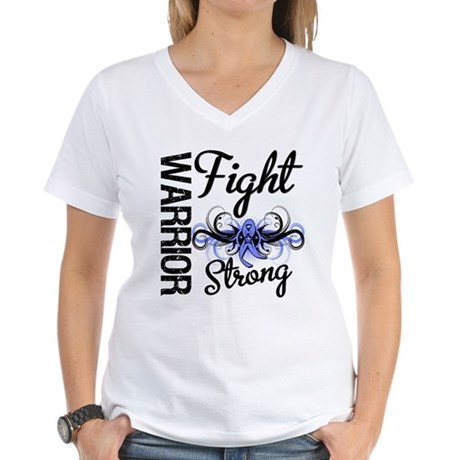 Warrior Esophageal Cancer Women's V-Neck T-Shirt