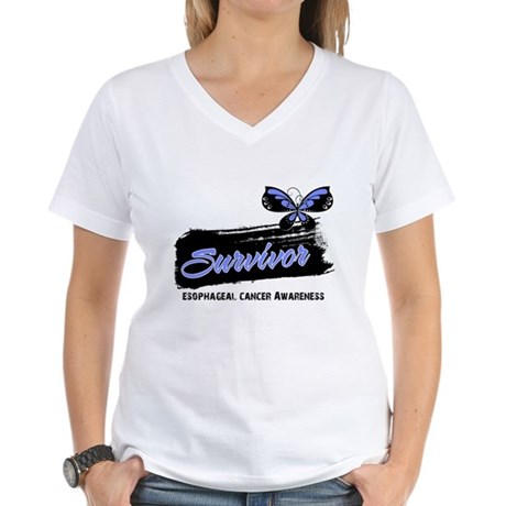 Survivor Esophageal Cancer Women's V-Neck T-Shirt