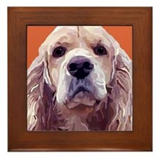 Cocker Spaniel Pet Portrait Painting Framed Tile