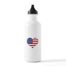 American Flag Heart Sports Water Bottle