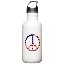 American Flag Peace Sign Water Bottle