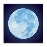Blue Full Moon Tile Coaster