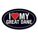 I Love My Great Dane Sticker/Decal (Oval)