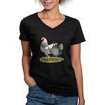 Wyandotte Silver Pair Women's V-Neck Dark T-Shirt